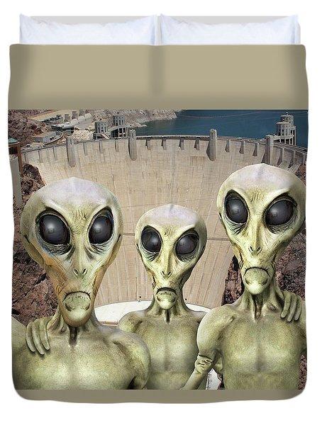 Alien Vacation - Hoover Dam Duvet Cover by Mike McGlothlen