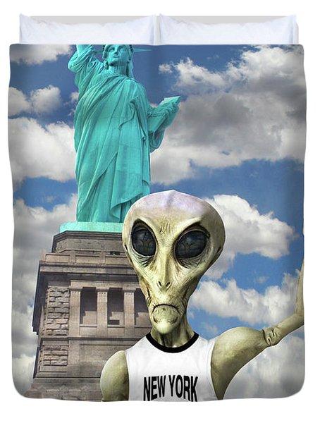 Alien Vacation - New York City Duvet Cover by Mike McGlothlen