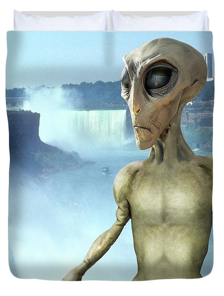 Alien Vacation - Niagara Falls Duvet Cover by Mike McGlothlen