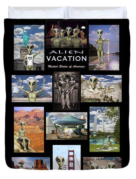 Alien Vacation - Poster Duvet Cover by Mike McGlothlen