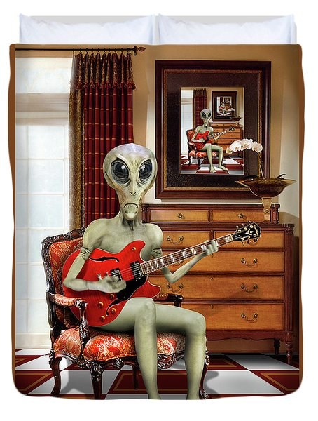 Alien Vacation - We Roll With Jazz Duvet Cover by Mike McGlothlen
