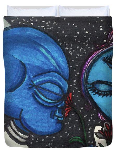 Aliens Love Flowers Duvet Cover