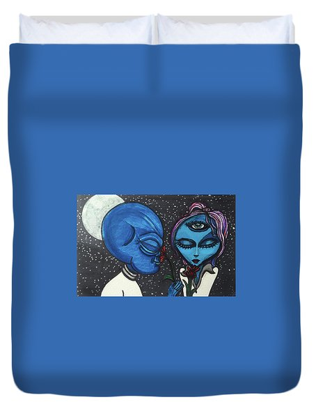 Aliens Love Flowers Duvet Cover
