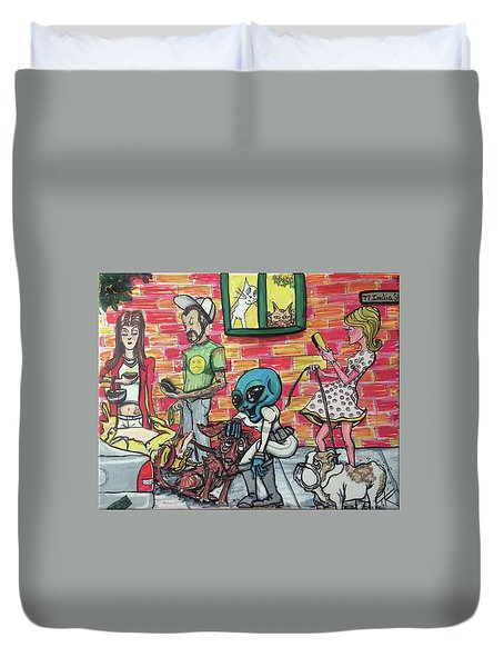 Aliens Love Dogs Duvet Cover