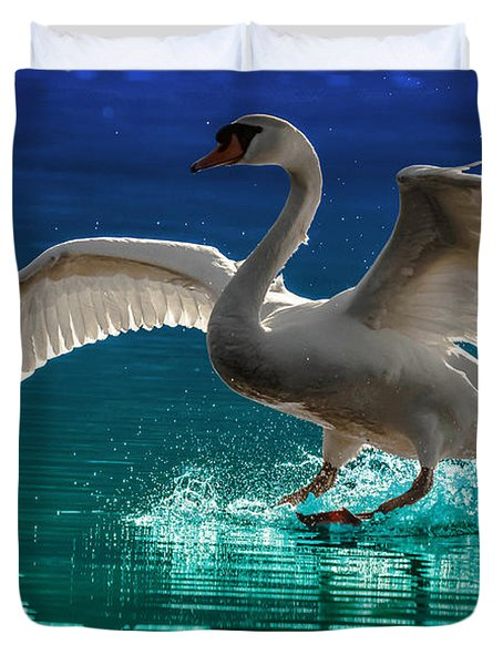Alighting Swan 2 Duvet Cover by Brian Stevens