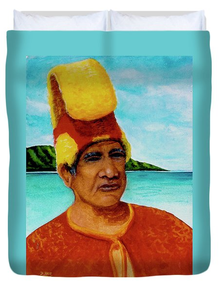 Alihi Hawaiian Name For Chief #295 Duvet Cover by Donald k Hall
