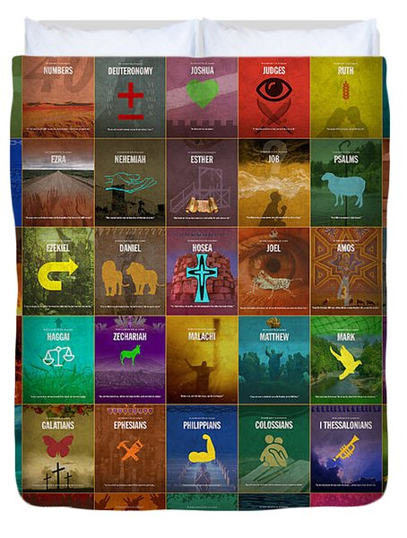All 66 Books Of The Bible Old And New Testament Minimalist Graphic Design Duvet Cover