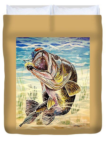 All About The Bass Duvet Cover by Sandra Lett