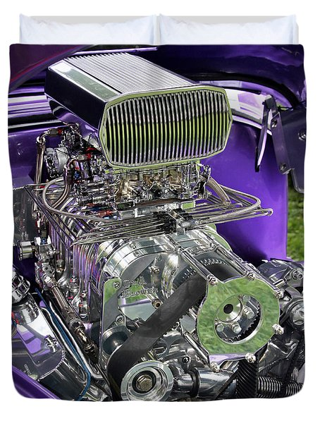 All Chromed Engine With Blower Duvet Cover