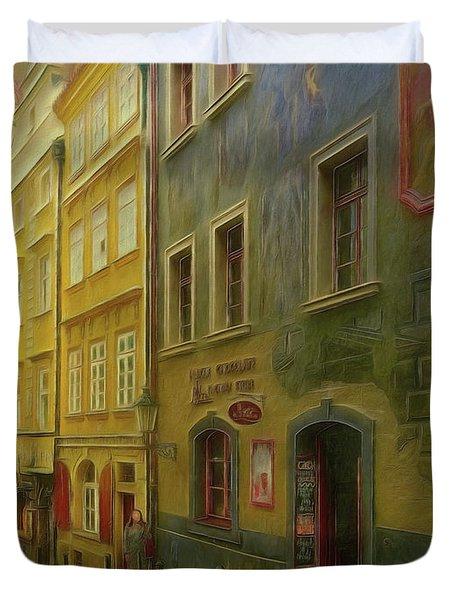All Downhill From Here - Prague Street Scene Duvet Cover