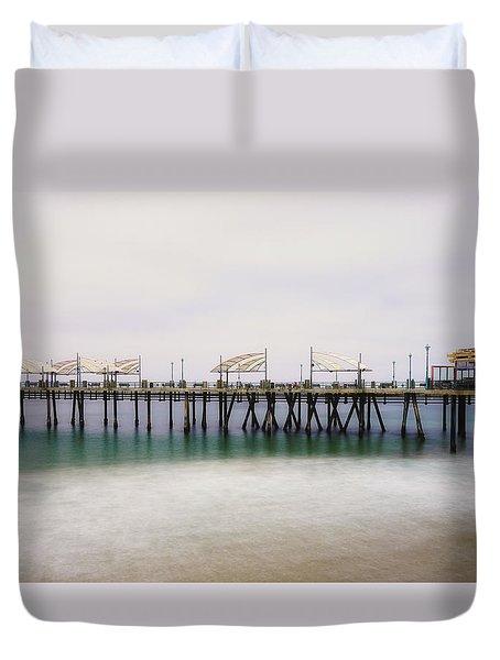 All Quiet On Redondo Pier Duvet Cover