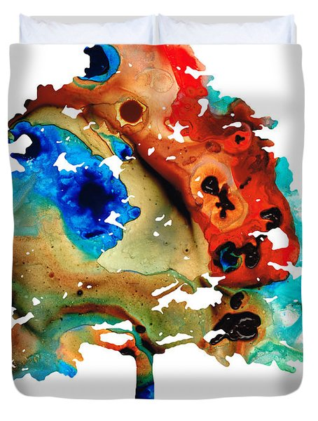 All Seasons Tree 3 - Colorful Landscape Print Duvet Cover by Sharon Cummings