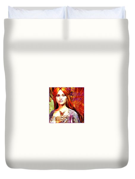 Duvet Cover featuring the painting All Souls Day Angel by Suzanne Silvir