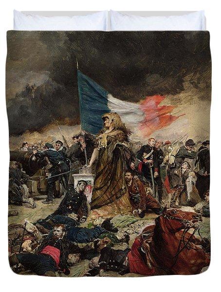 Allegory Of The Siege Of Paris Duvet Cover by Jean Louis Ernest Meissonier