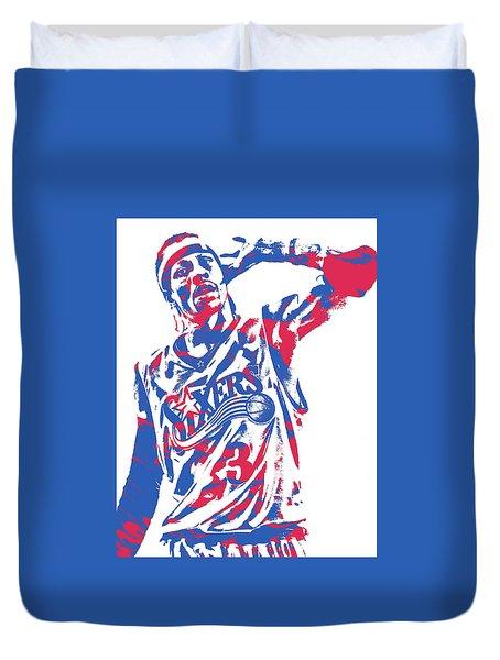 Allen Iverson Philadelphia 76ers Pixel Art 14 Duvet Cover