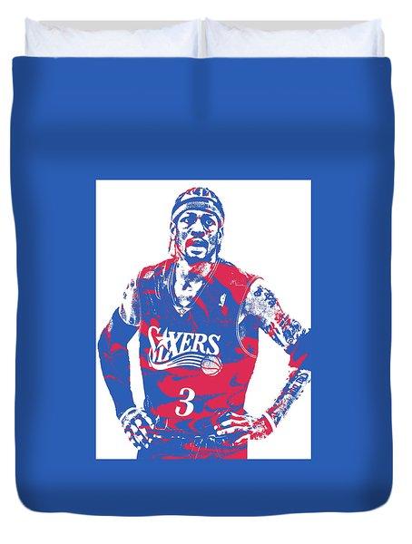 Allen Iverson Philadelphia 76ers Pixel Art 15 Duvet Cover