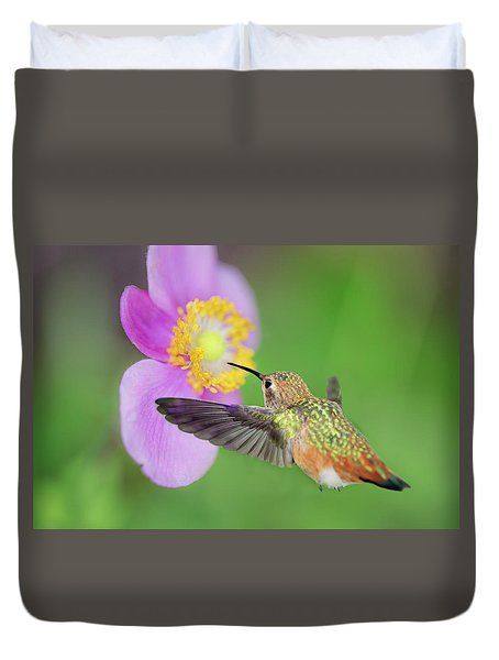 Allens Hummingbird And Anemone Duvet Cover