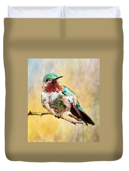 Duvet Cover featuring the photograph Allen's Hummingbird by Barbara Manis
