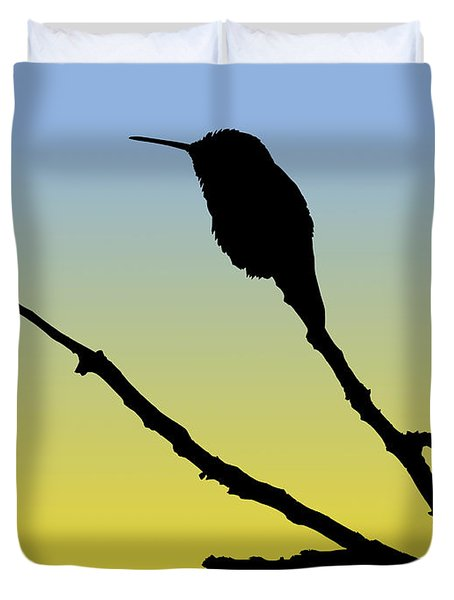Allen's Hummingbird Silhouette At Sunrise Duvet Cover