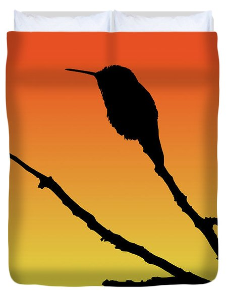Allen's Hummingbird Silhouette At Sunset Duvet Cover