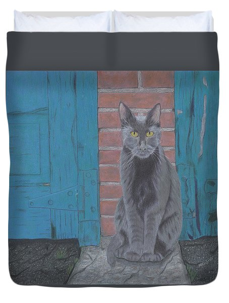 Duvet Cover featuring the drawing Alley Cat by Arlene Crafton