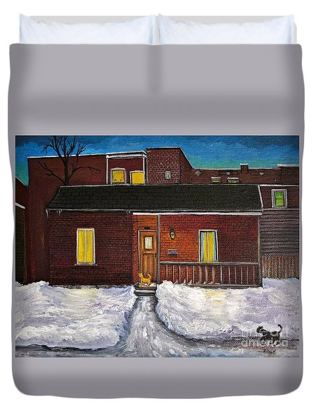 Alley Cat House Duvet Cover by Reb Frost