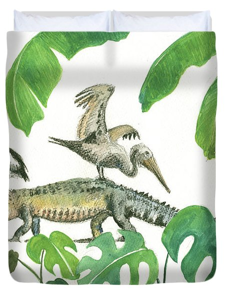 Alligator And Pelicans Duvet Cover