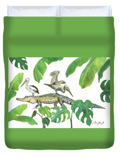 Alligator And Pelicans Duvet Cover
