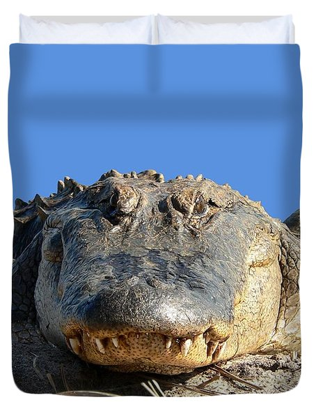 Duvet Cover featuring the photograph Alligator Approach .png by Al Powell Photography USA