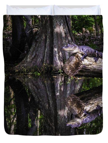Alligators The Hunt, New Orleans, Louisiana Duvet Cover