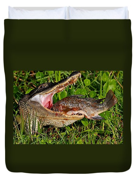 Alligator Eating Fish Duvet Cover