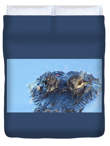 Duvet Cover featuring the photograph Alligator Head Closeup by Melinda Saminski
