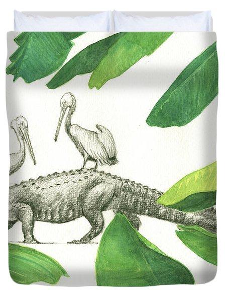 Alligator With Pelicans Duvet Cover