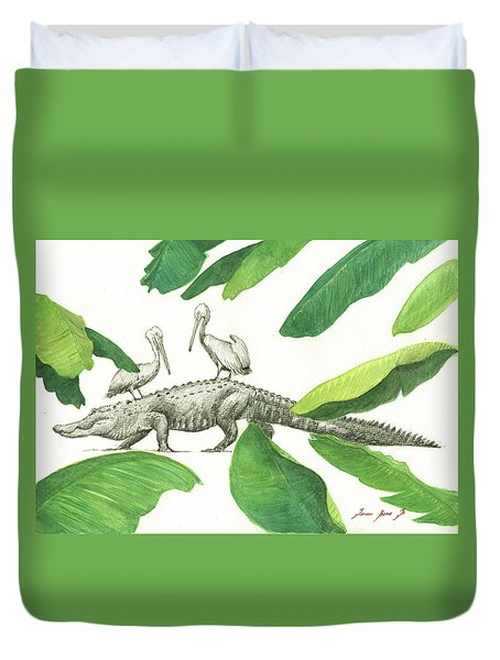 Alligator With Pelicans Duvet Cover by Juan Bosco