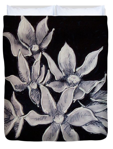 Duvet Cover featuring the painting Allium Moly by Kym Nicolas
