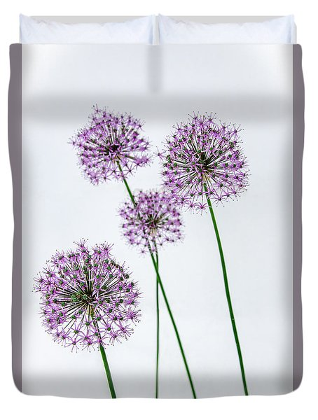 Alliums Standing Tall Duvet Cover by Susan  McMenamin