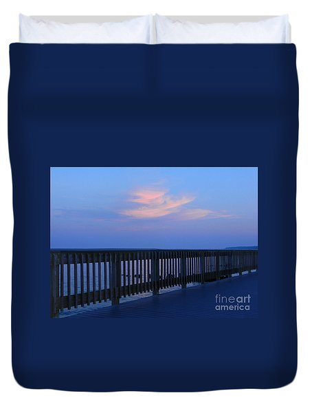 Duvet Cover featuring the photograph Alls Quiet On The Beach Front by Emmy Marie Vickers