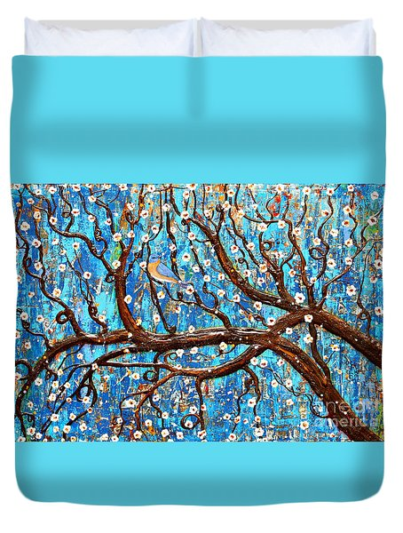 Duvet Cover featuring the mixed media Almond Blossoms by Natalie Briney