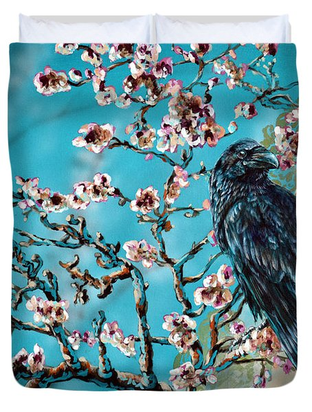 Almond Branch And Raven Duvet Cover