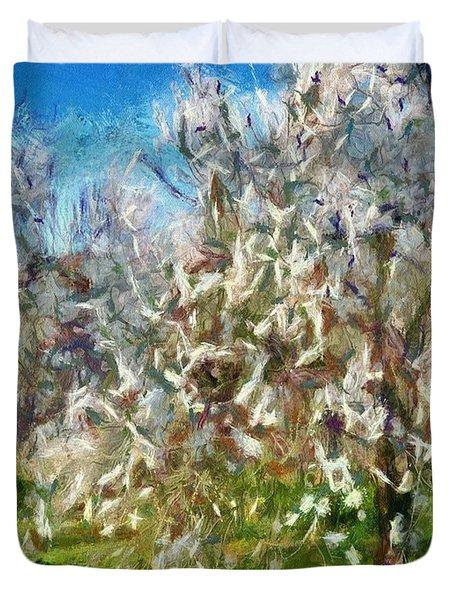 Almond Orchard Blossom Duvet Cover
