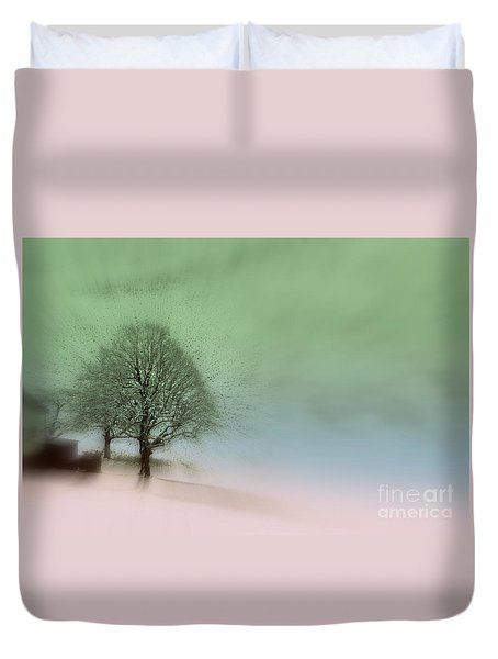 Duvet Cover featuring the photograph Almost A Dream - Winter In Switzerland by Susanne Van Hulst