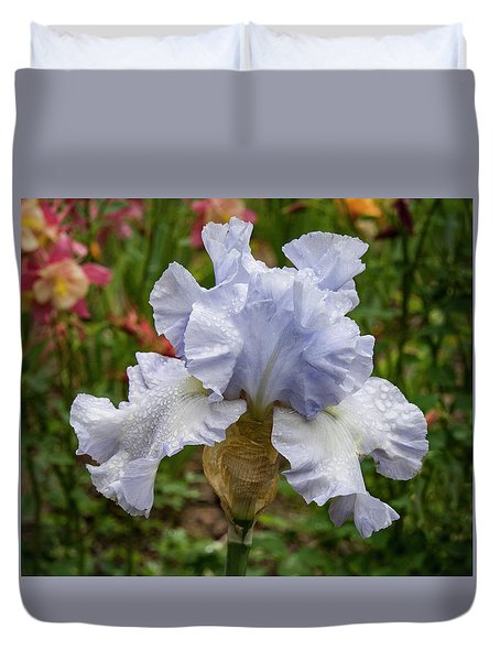 Duvet Cover featuring the photograph Almost Blue Bearded Iris by Jean Noren