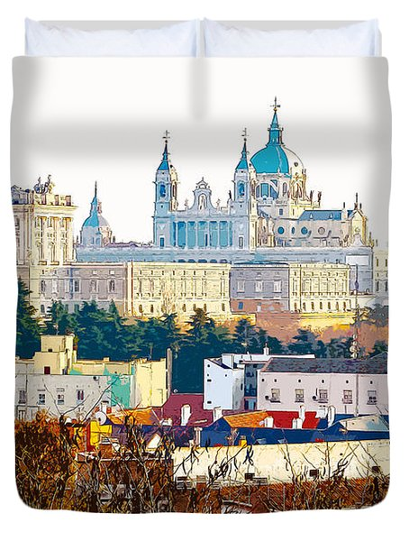 Almudena Cathedral And The Royal Palace Of Madrid Spain Duvet Cover