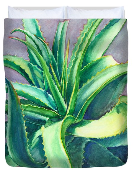 Aloe Vera Watercolor Duvet Cover