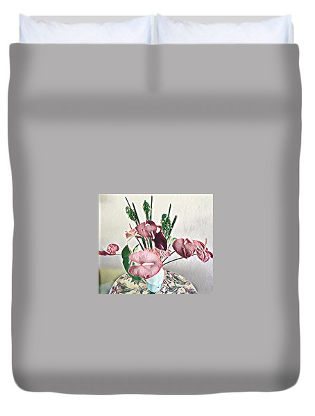 Aloha Bouquet Of The Day - Anthuriums And Green Ginger In Pale Duvet Cover