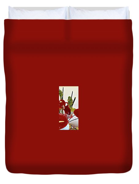 Aloha Bouquet Of The Day - Anthuriums In Darkl Red With Green Ginger - A Portion Duvet Cover