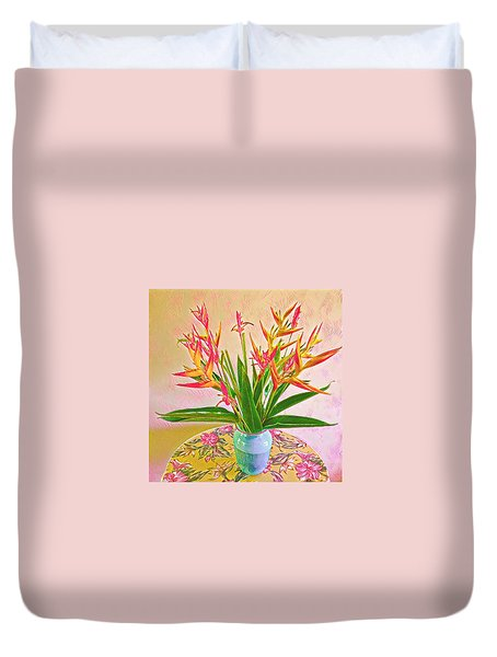 Aloha Bouquet Of The Day Halyconia And Birds In Pink Duvet Cover