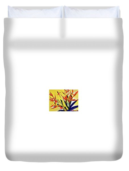 Aloha Bouquet Of The Day - Halyconia Birds In Orange Duvet Cover