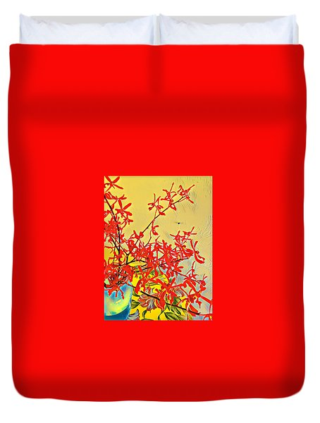 Aloha Bouquet Of The Day -- Red Orchids In Blue Vse Duvet Cover