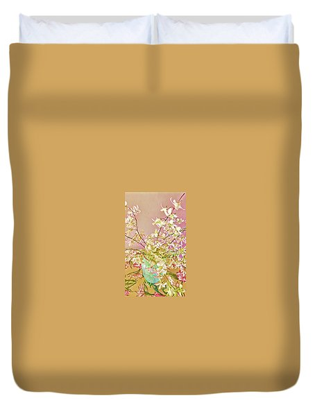 Aloha Bouquet Of The Day - White Orchids In Pink Duvet Cover